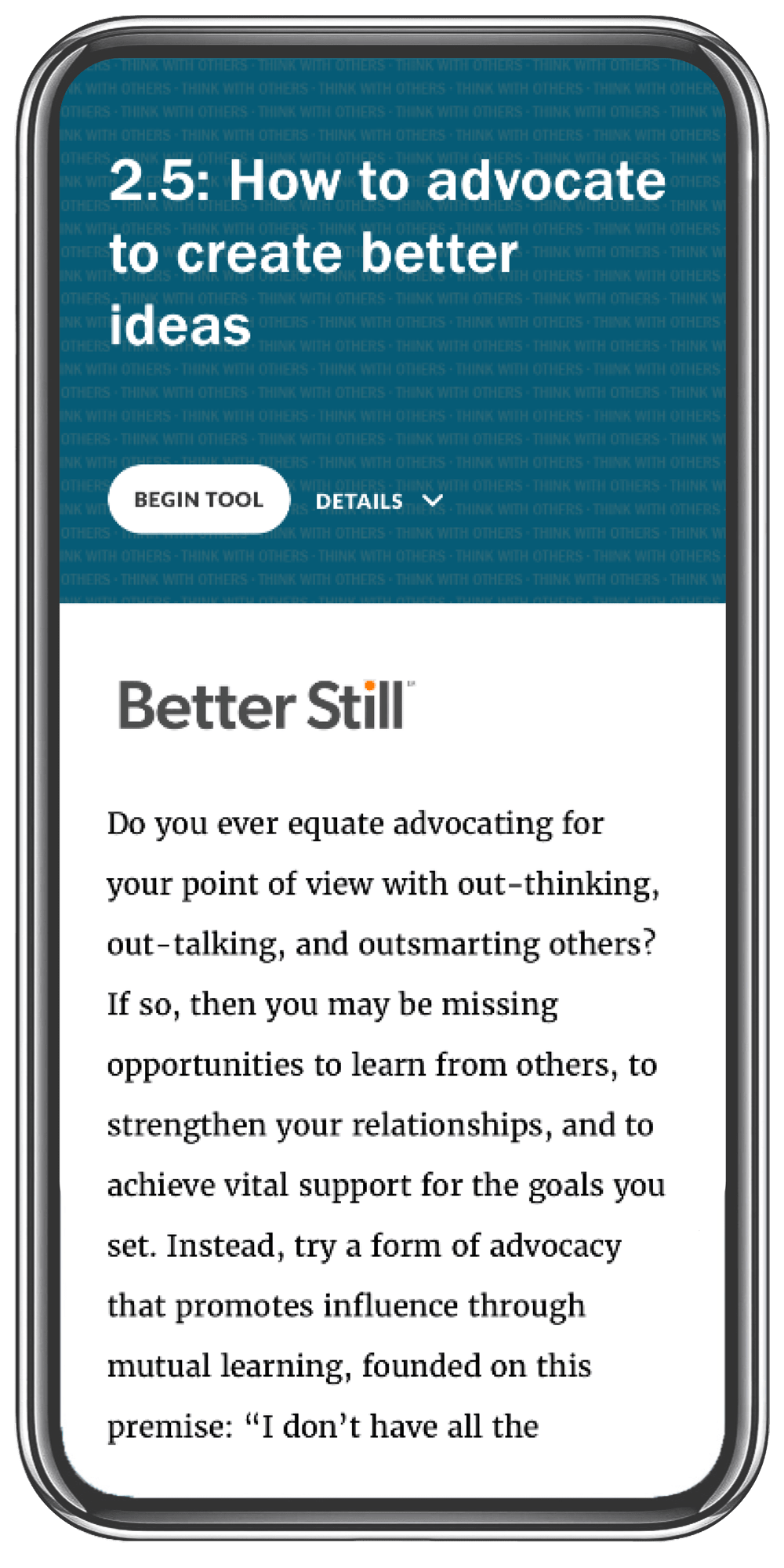 Better Still Tool 2.5 How to Advocate to Create Better Ideas image