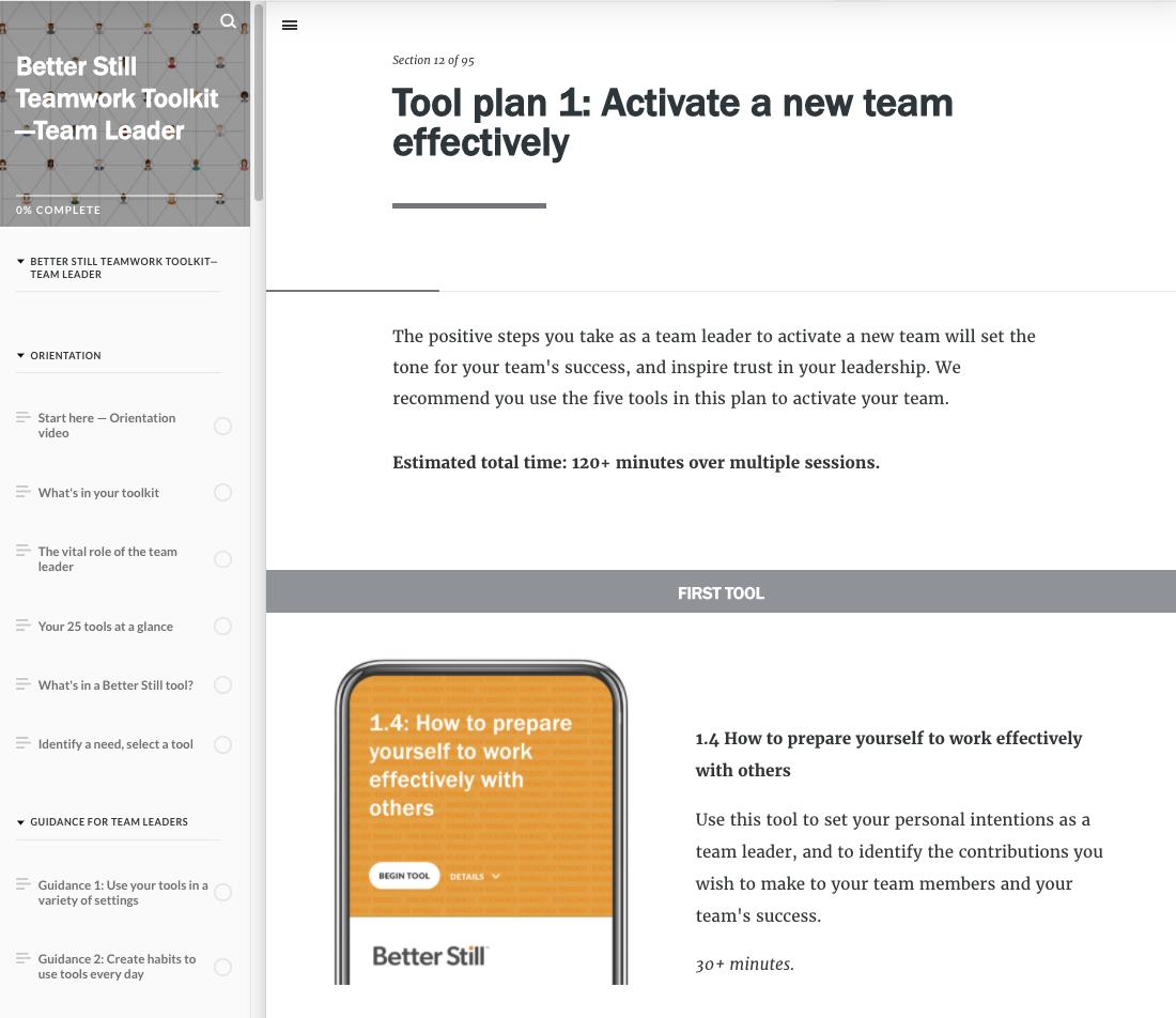 Better Still Teamwork Toolkit—Team LeaderTool Plan example