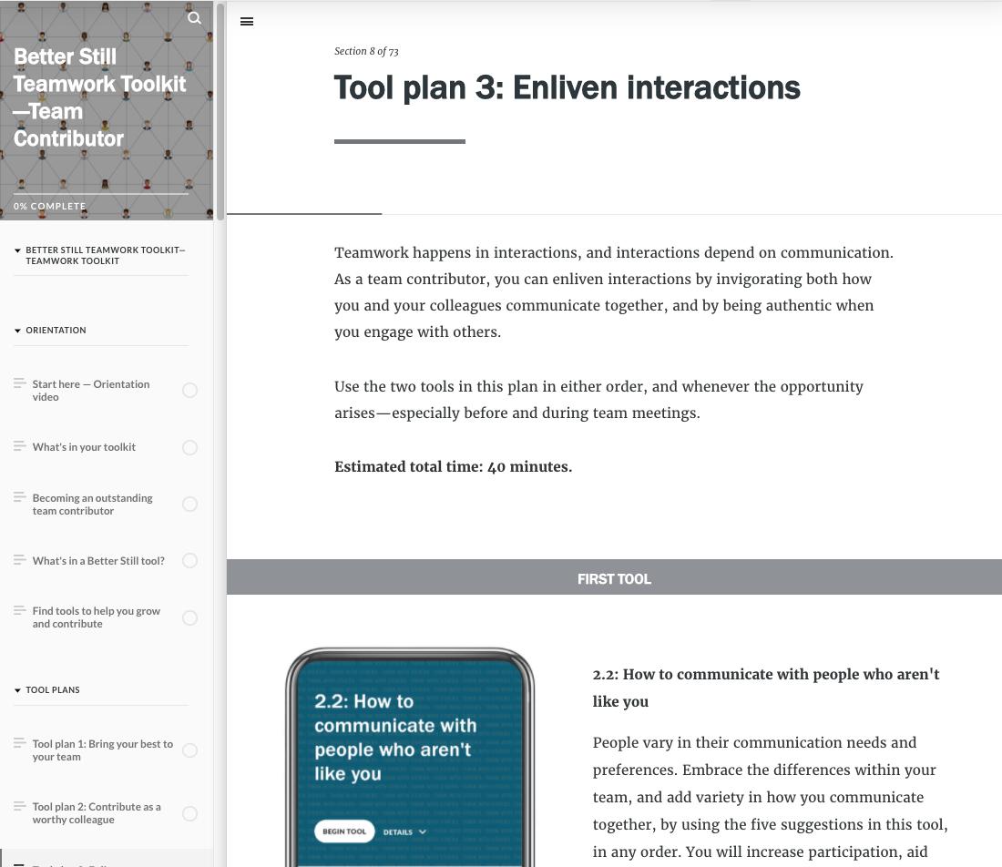 Better Still Teamwork Toolkit—Team Contributor Tool Plan example