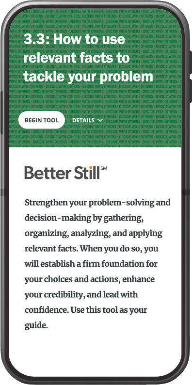 Better Still Tool 3.3 How to Use Relevant Facts to Tackle Your Problem image