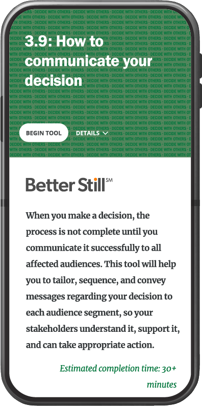 Better Still Tool 3.9 How to Communicate Your Decision image