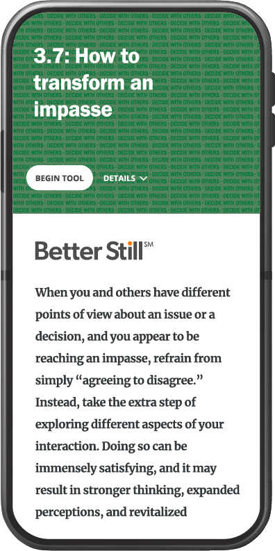 Better Still Tool 3.7 How to Transform an Impasse image