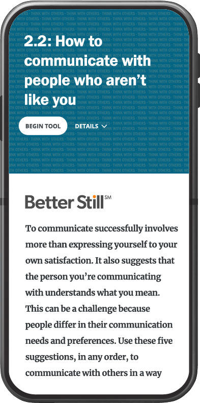 Better Still Tool 2.2 How to Communicate with People Who Aren't Like You image