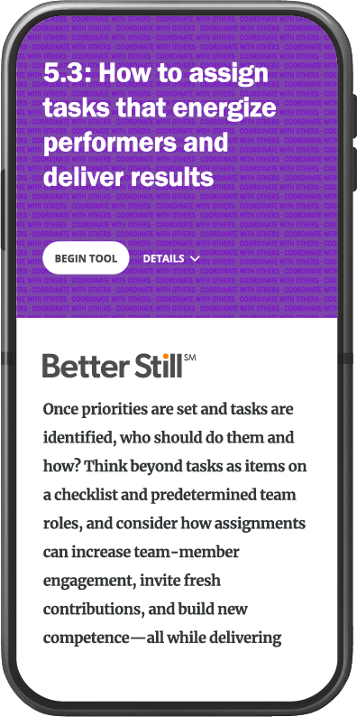 Better Still Tool 5.3 How to Assign Tasks That Energize Performers and Deliver Results image