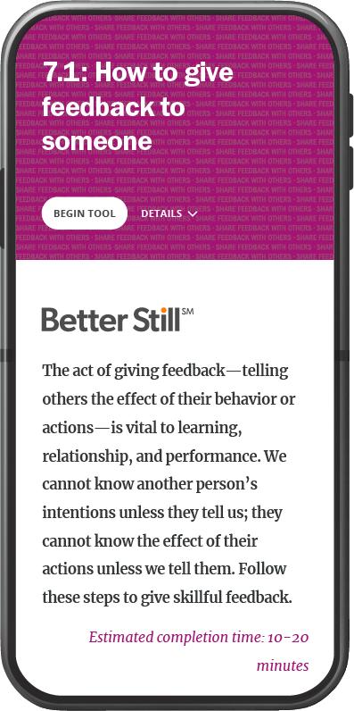 Better Still Tool 7.1 How to Give Feedback to Someone image
