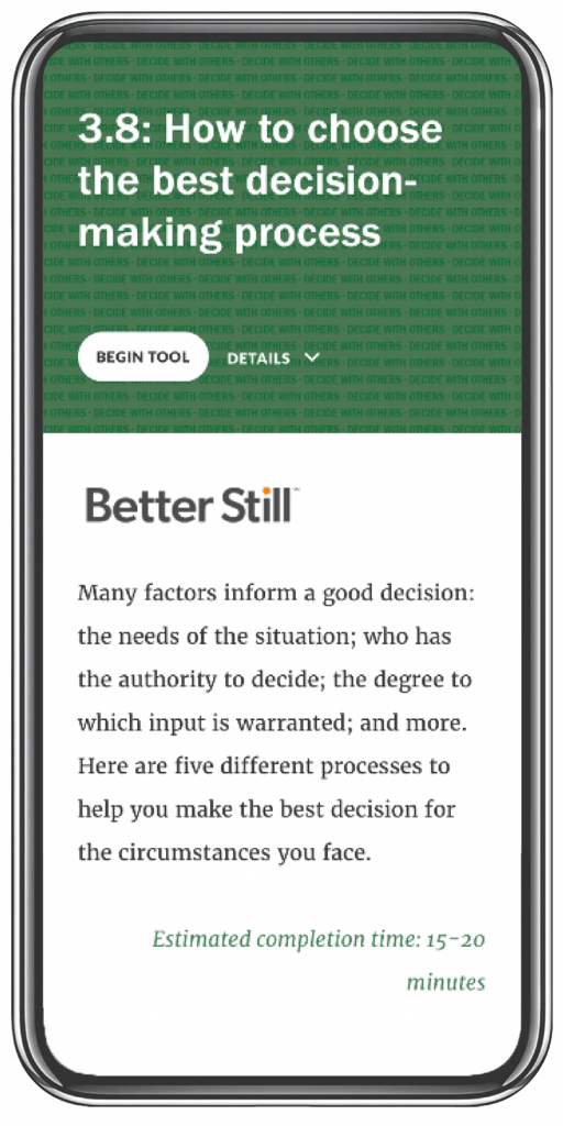 Better Still Tool 3.8 How to Choose the Best Decision-Making Process image