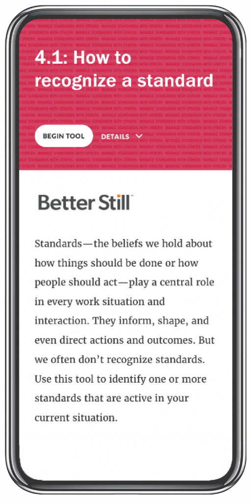 Better Still Tool 4.1 How to Recognize a Standard image