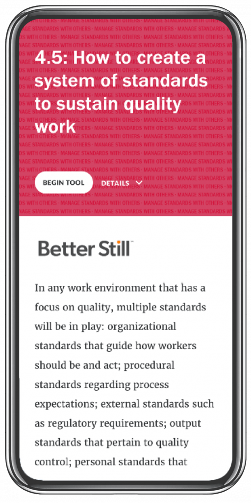 Better Still Tool 4.5 How to Create a System of Standards to Sustain Quality Work image