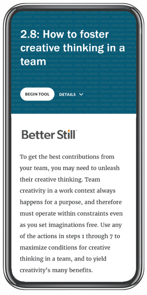 Better Still Tool 2.8 How to Foster Creative Thinking in a Team image