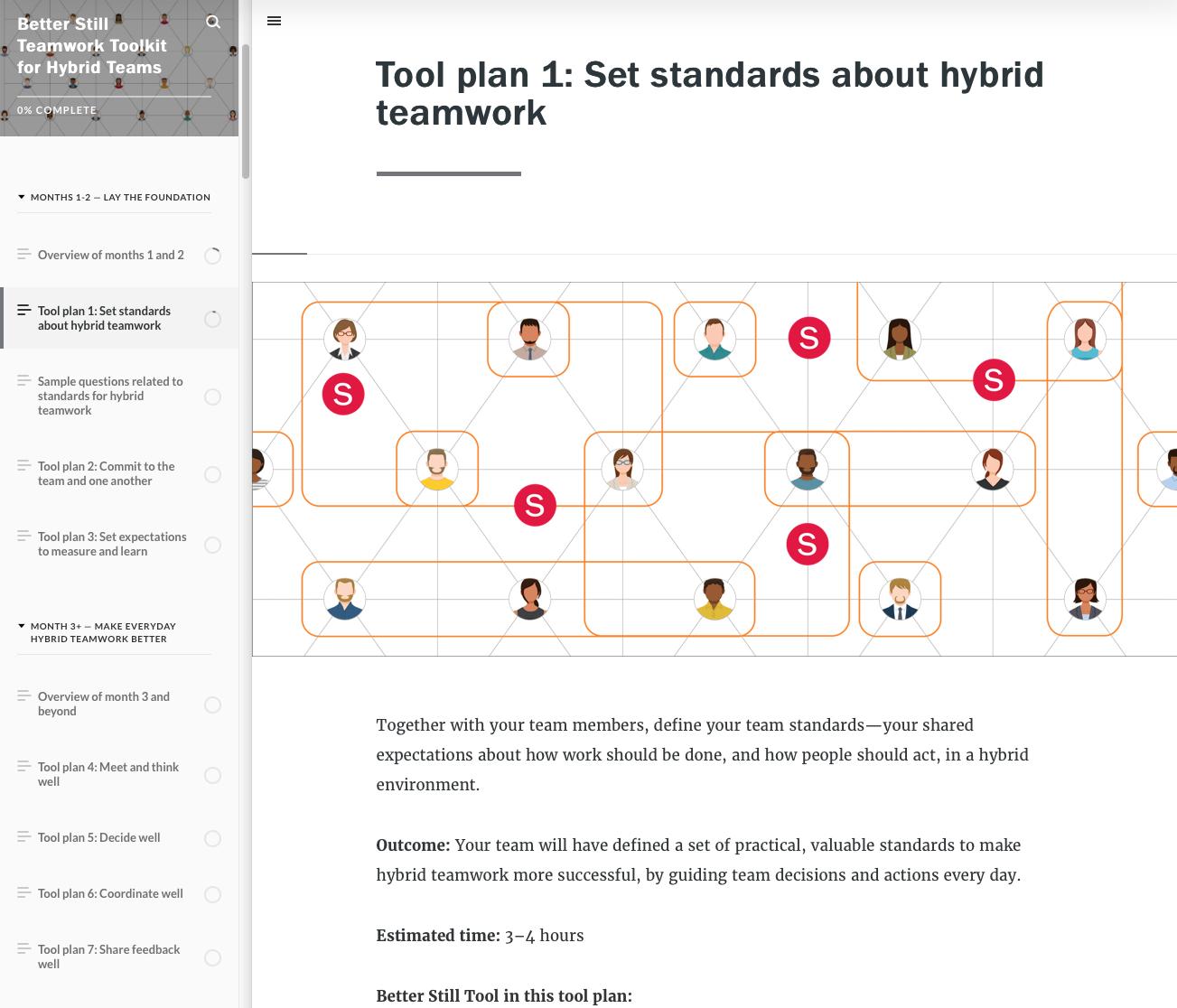 Better Still Teamwork Toolkit for Hybrid Teams Tool Plan Sample